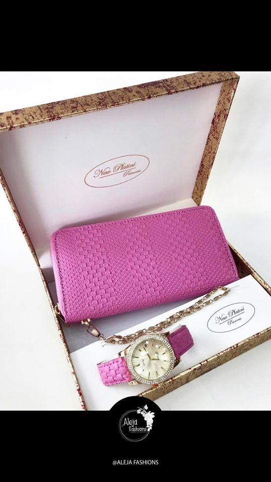 Set de reloj, billetera y aretes