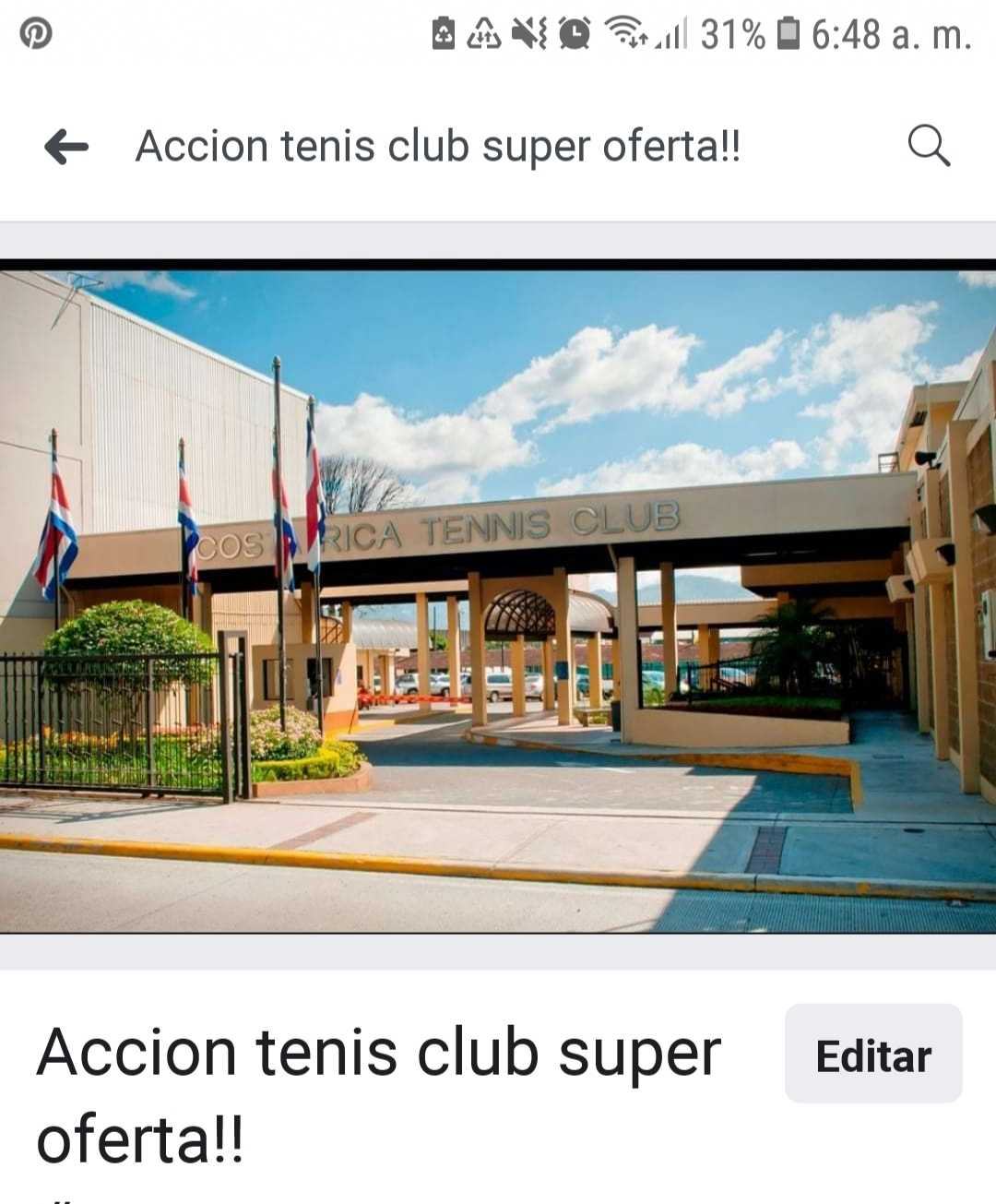 Urge vender accion Tenis Club