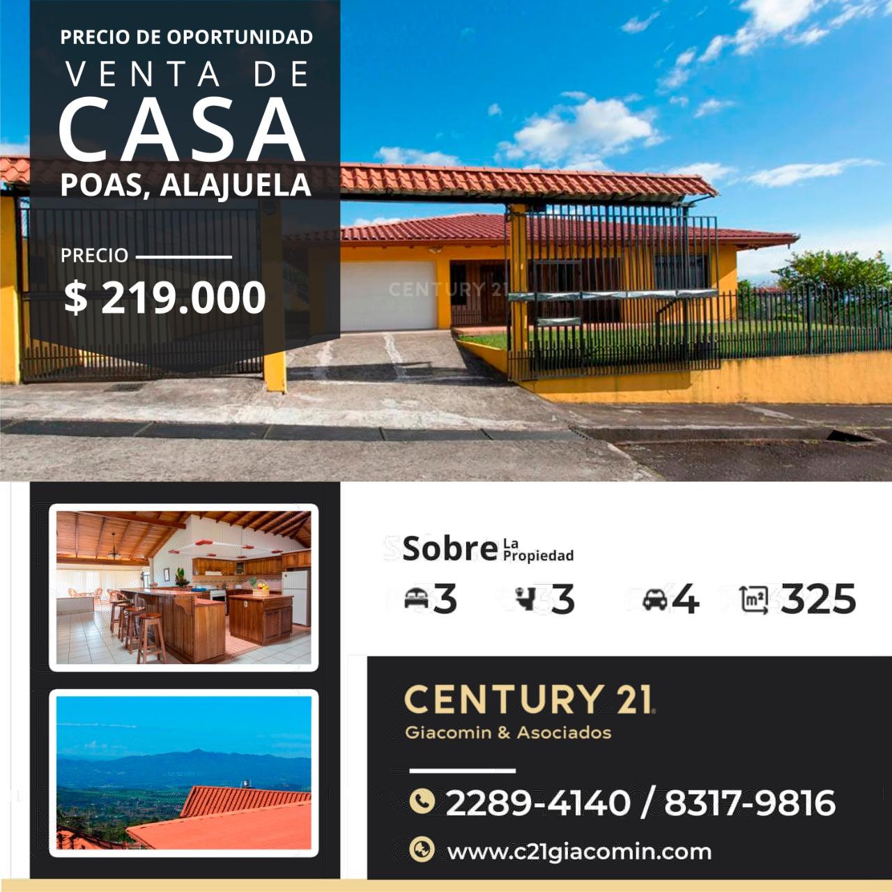 ¡Venta de bella casa en Poas Alajuela, con vistas espectaculares!