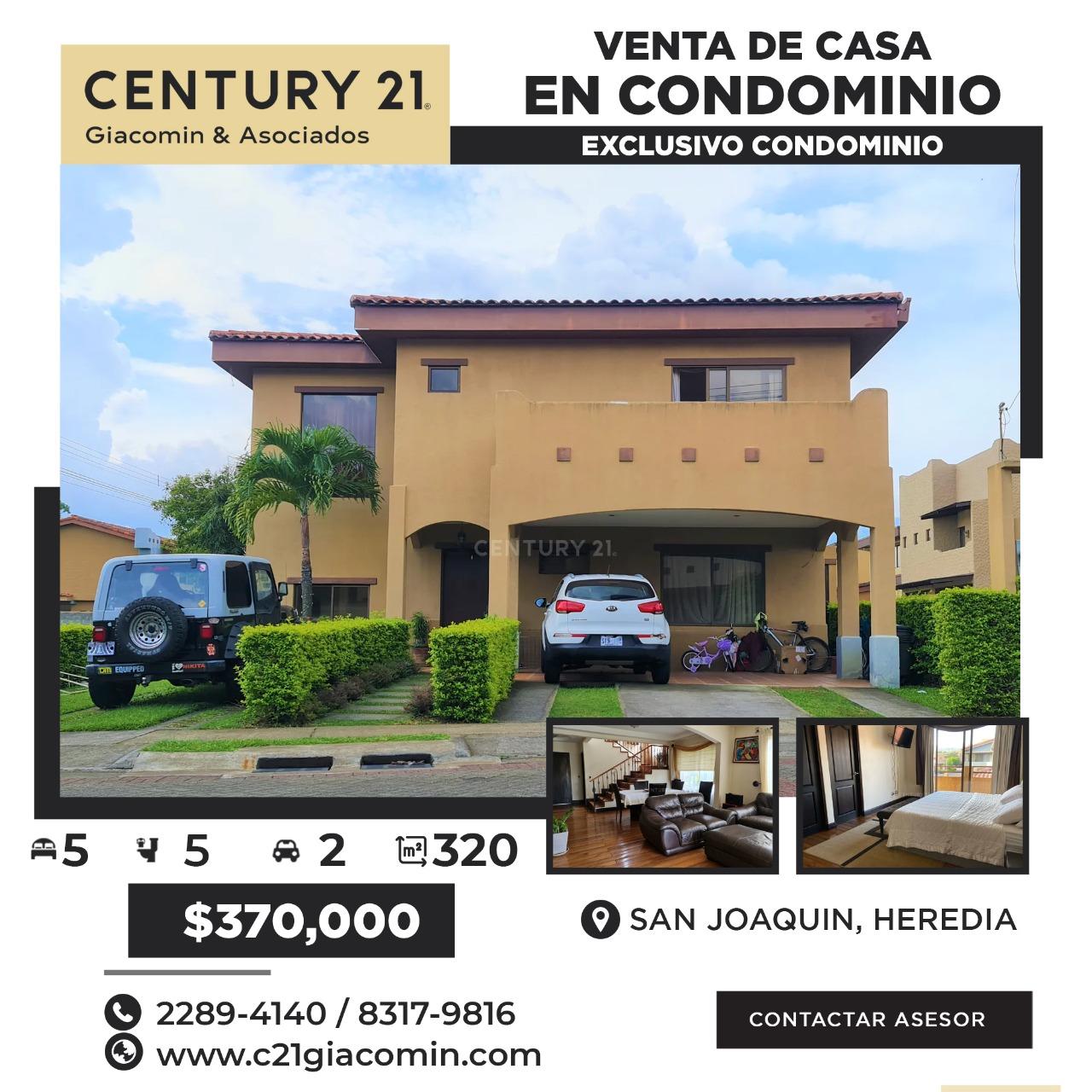 VENTA DE CASA EN EXCLUSIVO CONDOMINIO EN SAN JOAQUIN DE HEREDIA