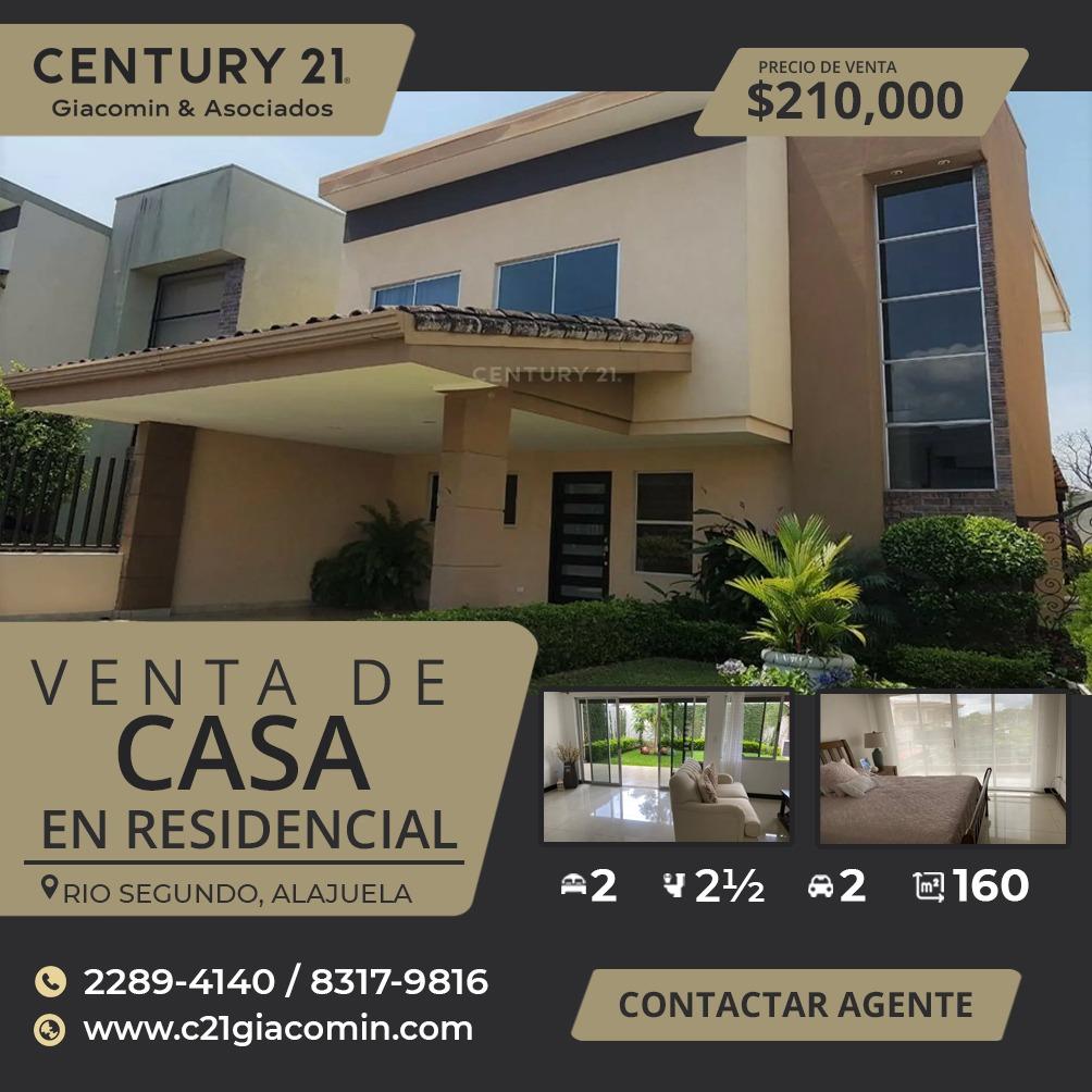VENTA DE CASA EN RESIDENCIAL RIO SEGUNDO, ALAJUELA.