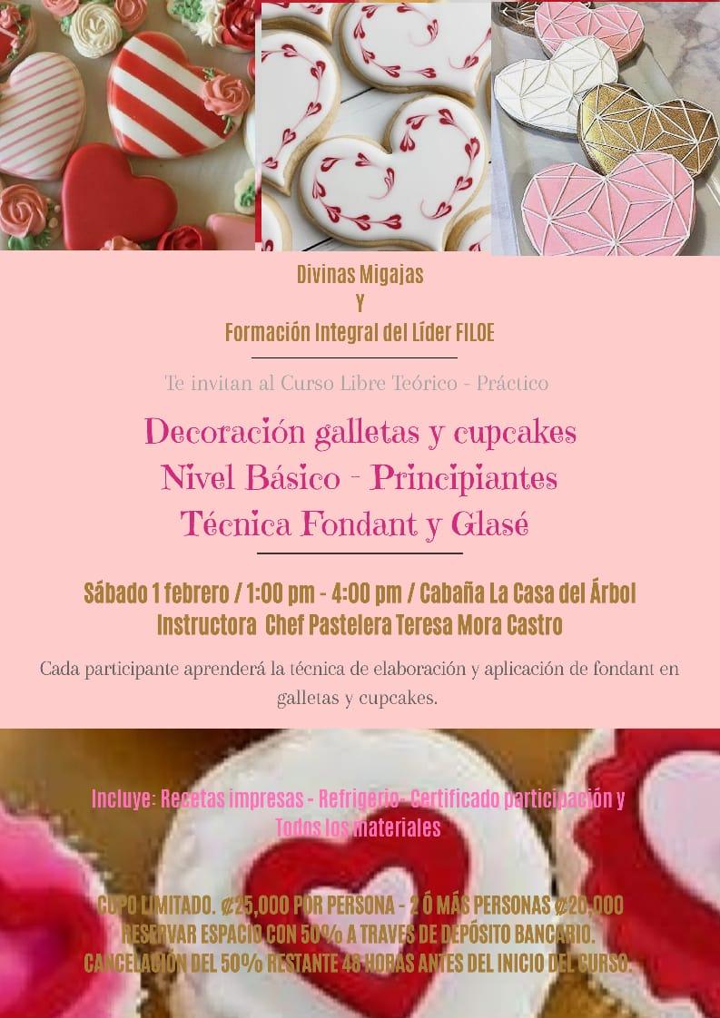 Taller decoración de galletas y cupcakes. Sábado 01 de FEBRERO