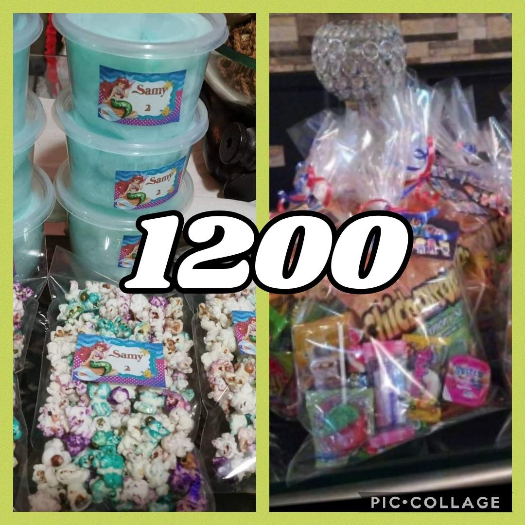 Paquetes de algodon de azucar, bolsita y palomitas