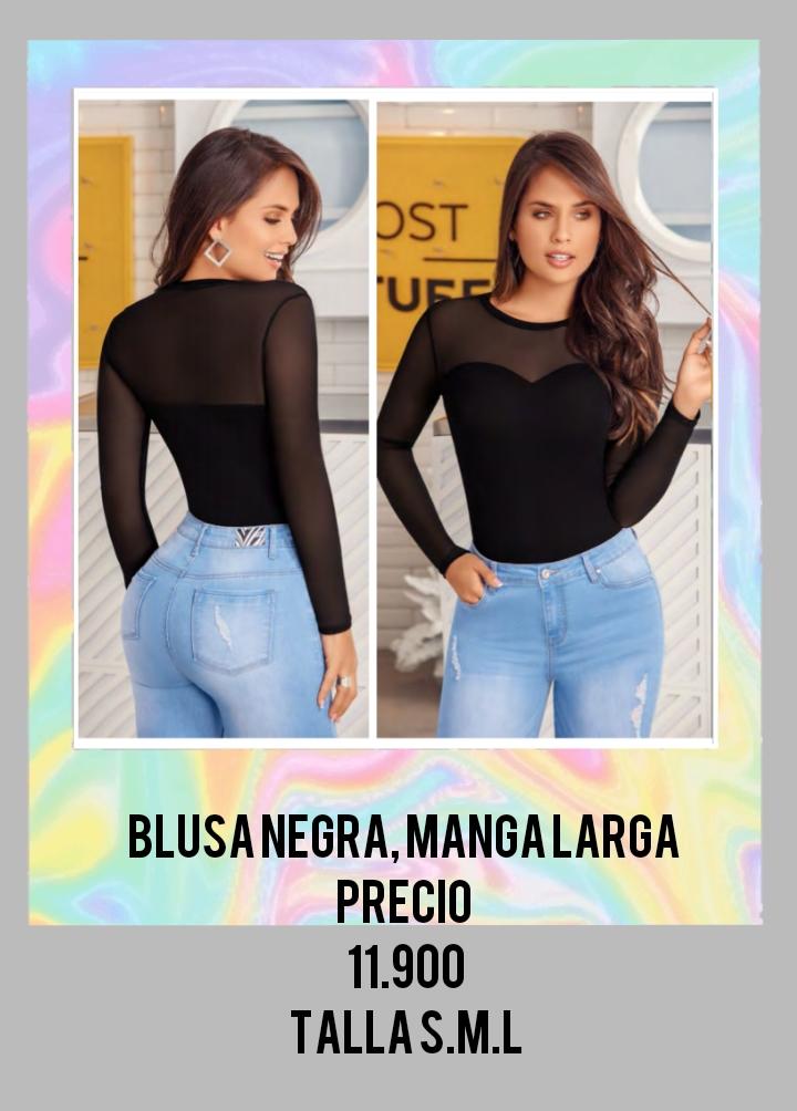 Blusa color negro para dama.