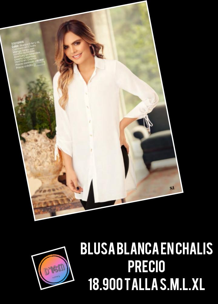 Blusa  Blanca  en chalis.
