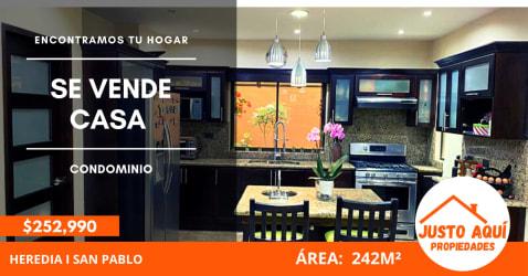 Venta de Casa en Condominio en San Pablo de Heredia