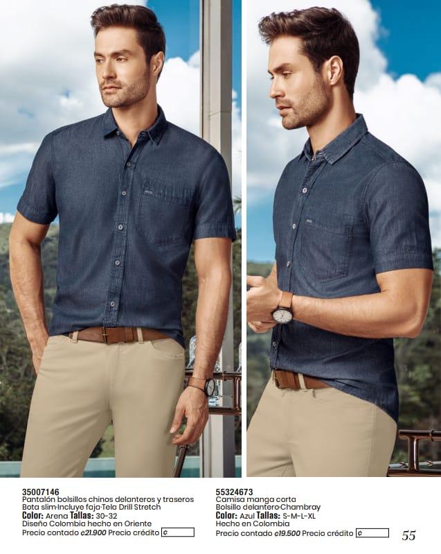 Pantalon y camisa manga corta.
