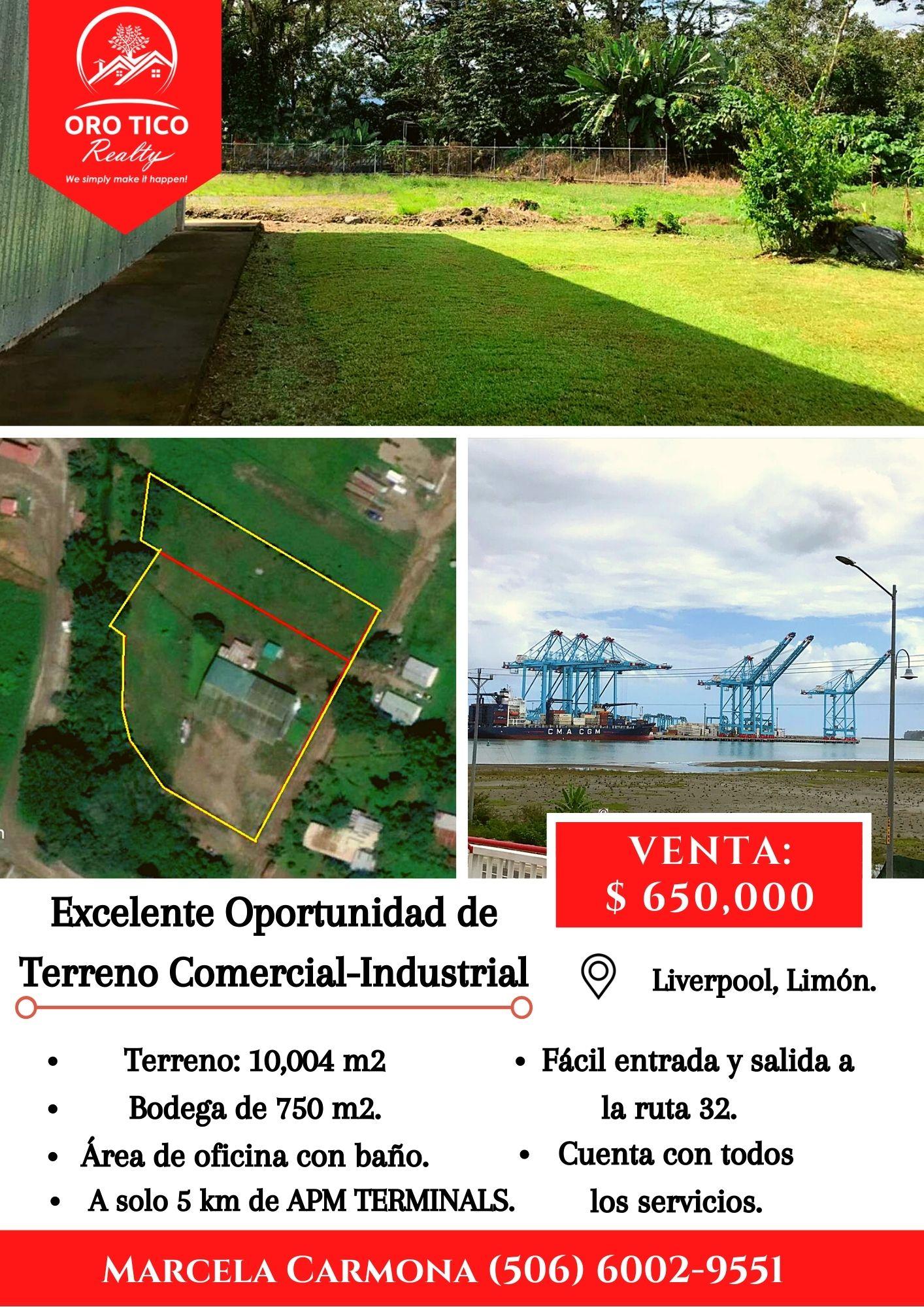 Terreno Comercial-Industrial con Bodega cerca de APM TERMINAL en Limón.