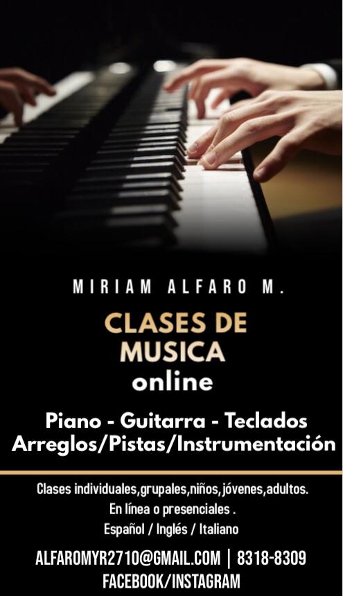 Clases virtuales: música, Inglés, italiano.