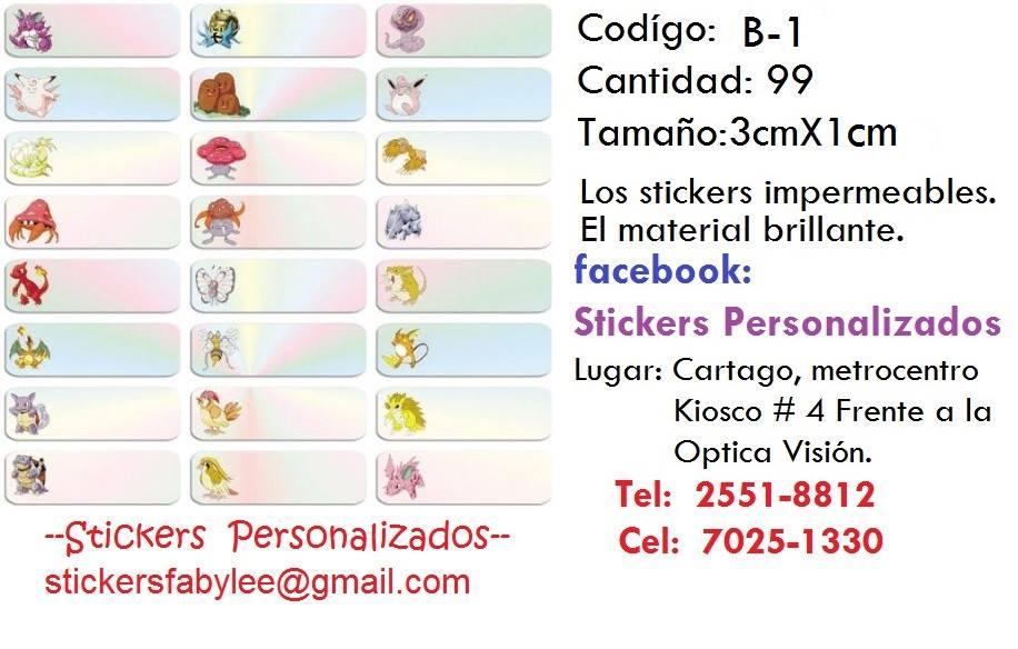 Stickers 3cm x 1cm. Material con  brillante