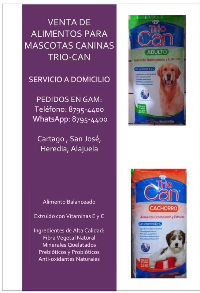 Venta de Alimentos para Mascotas Caninas TRIO-CAN