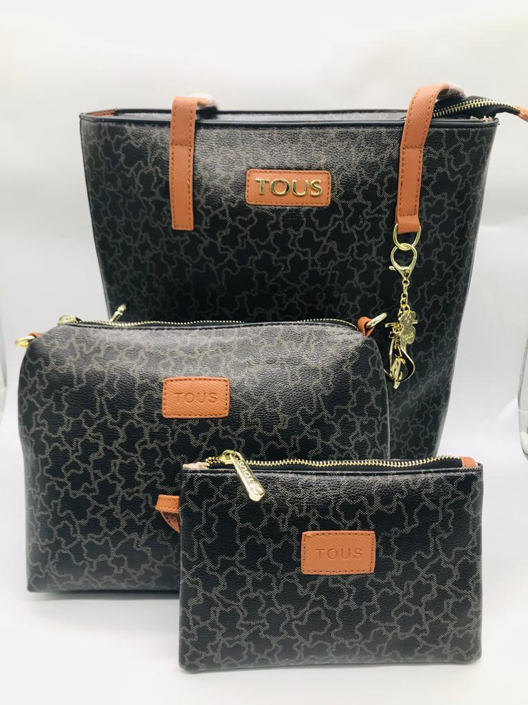 Set de bolso grande, pequeño y cosmetiquera